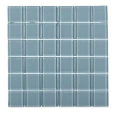 """Contempo 2""""x2"""" Glass Mosaic Tile, Blue"""