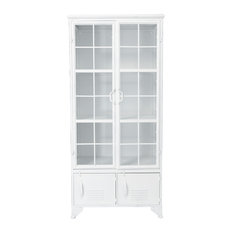 Metal Cabinet With 3 Shelves and 4 Doors, Azure White