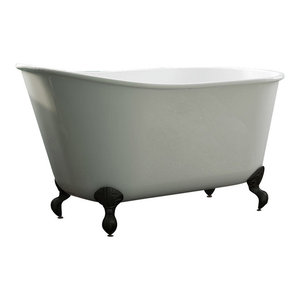 """58"""" Cast Iron Swedish Tub Without Faucet Holes """"Holt"""", Oil Rubbed Bronze Feet"""