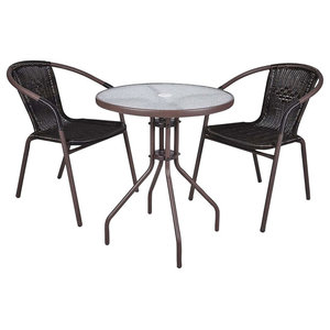 Contemporary Bistro Set, Round Tempered Glass Top Table and 2 Rattan Chairs