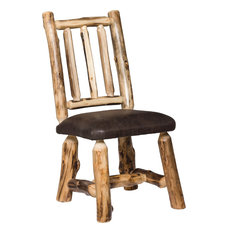 Rustic Aspen Log Dining Side Chairs With Padded Seat Set Of 2