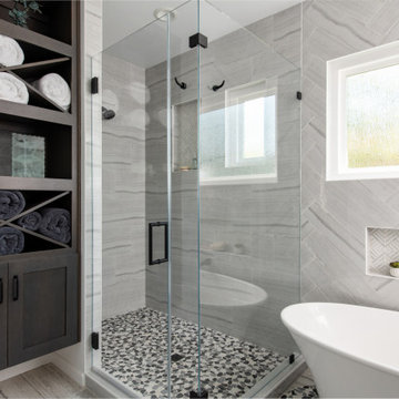 Walk-in Shower with Porcelain Tile and Pebble Flooring