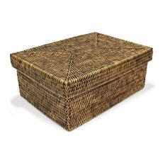 Rattan Rectangular Storage Basket With Lid, Small