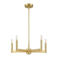 Linea di Liara Trento 5 Light Chandelier, Satin Brass