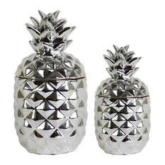 Round Ceramic Pineapple Canisters, Polished Chrome Silver, 2-piece, 108 oz.
