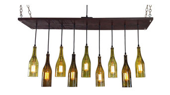 Modern Chandelier With Recycled Wine Bottle Pendants