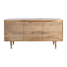 Unique Sideboard, Mango Wood Construction With Carved Detail, Natural-White