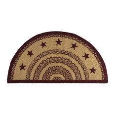 Vhc Brands Burgundy Tan Jute Rug Half Circle Stencil Stars
