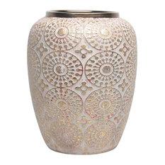 Well-Designed Decorative Ceramic Vase, White and Gold
