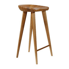 Vandue Corporation Tractor Contemporary Carved Wood Bar Stool Natural Bar Stools and Counter