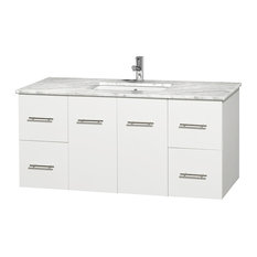"Centra 48"" White Single Vanity, White Carrera Marble Top, Square Undermount Sink"