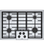 Bosch - Bosch 31 Inch Natural Gas Cooktop in Stainless Steel - Bosch NGM5055UC 500 Series 31 Inch Natural Gas Cooktop with 4 Sealed Burners, Sealed Burners, CSA Certified in Stainless Steel