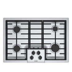 "Bosch 30"" Gas Cooktop, Stainless Steel"