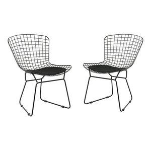 GDF Studio Fonda Outdoor Iron Chairs, Black/Black, Set of 2