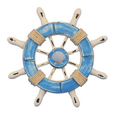 Rustic Light Blue and White Decorative Ship Wheel With Seashell, 6""