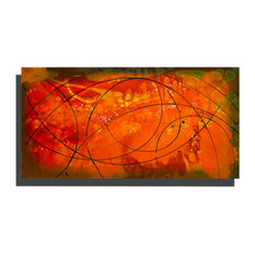 "Orange Modern Abstract Metal Painting, ""Embers"" by Jon Allen, 36""x18"""