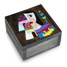 El Salvador Woman Pine Wood Box