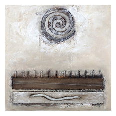"""Large Contemporary Artwork Hand Painted Canvas Collage - """"Coil- Relief 8"""""""