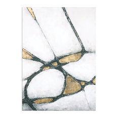 Stunning Oversize White Gold Black Abstract Painting, Wall Art Modern Metallic