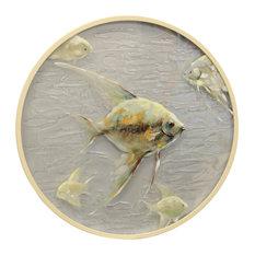"""Porthole A, 26""""x26"""" Coastal Hand Painted On Rippled Glass With Wood Frame"""
