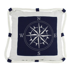 Decorative Throw Pillow, Blue Compass With Nautical Rope, 16""