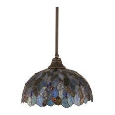 "Stem Pendant In Dark Granite, 16"" Blue Mosaic Tiffany Glass"