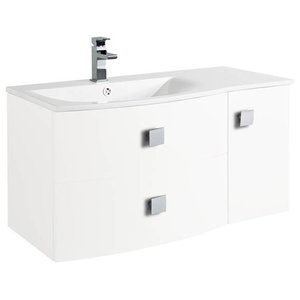 Sarenna Wall-Mounted Bathroom Vanity Unit, White, Left-Hand, 100 cm