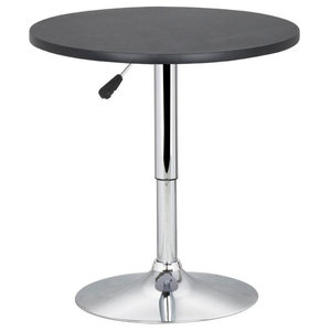 Modern Bar Pub Table With Stainless Steel Base and MDF Top, 360 Degrees Swivel