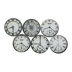 Black and White Clock Cabinet Knobs, 6-Piece Set