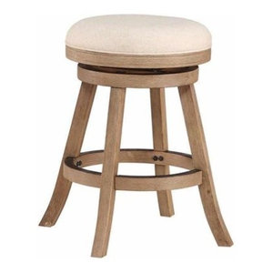 """24"""" Fenton Counter Stool, Driftwood Gray Wire-Brush And Ivory"""