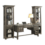 Parker House Austin Writing Desk With Bookcase Pier, Earl Gray