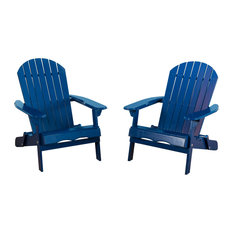 Gdfstudio Denise Austin Home Milan Outdoor Folding Adirondack Chair Set Of 2 Navy