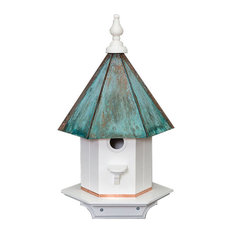 Large Post Mounted 1-Hole Vinyl Birdhouse With Copper Patina Roof