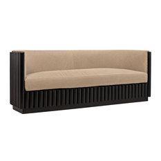 DUKE Sofa 3-Seat Hand-Rubbed Black Linen Mahogany
