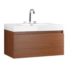 """Fresca Senza Mezzo Teak Modern Bathroom Vanity, FVN8010TK"""