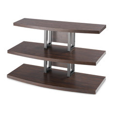 Modern TV Stand 3 Open Storage Shelves Rustic Espresso Finish