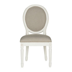 Holloway French Brasserie Linen Oval Side Chairs, Set of 2, Light Gray, Cream