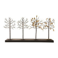 Four Seasons Tree Brass and Iron Tabletop Sculpture