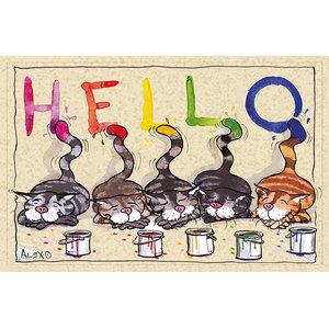 """Hello"" Painting Cats Gallery Door Mat, Large"