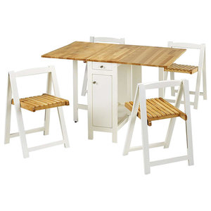 Compact Dining Set, Wood With Table and 4 Chairs, Oak and White