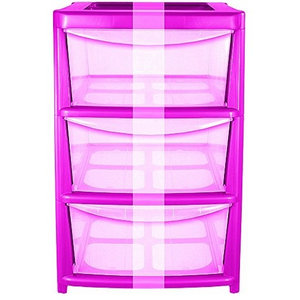 Modern Chest of Drawers in Plastic with Pink Frame and Clear Drawers, 3 Drawers