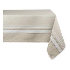"DII White French Stripe Tablecloth 60""x104"""