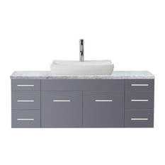 "Biagio 55"" Single Bathroom Vanity Set, Gray, Carrara Marble Countertop"