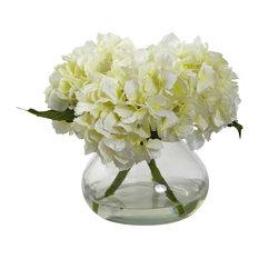 Blooming Hydrangea With Vase, Cream