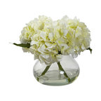 Blooming Hydrangea With Vase, Cream