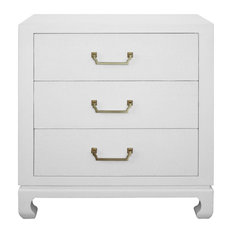 Worlds Away Camille 3-Drawer Chest White Lacquer