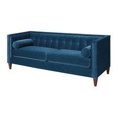 Brika Home Tufted Double Cushion Sofa in Satin Teal