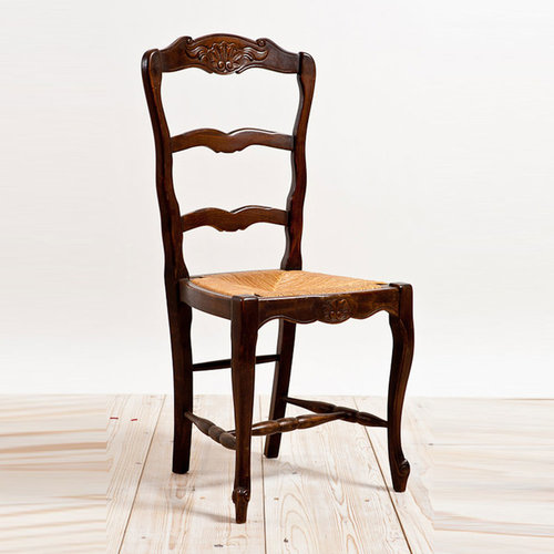 French Antique Ladderback Chair With Rush Seating   Rocking Chairs