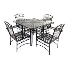 5-Piece French Quarter Outdoor Dining Set, Black Steel