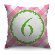 """Number Six - Circle Plaid"" Outdoor Pillow 16""x16"""